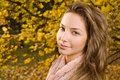 Closeup portrait of autumn fashion girl. Stock Images