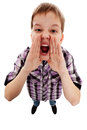 Closeup portrait of a boy screaming out loud on a white background Royalty Free Stock Photo