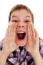 Closeup portrait of a boy screaming out loud on a white background Royalty Free Stock Image