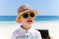 Closeup portrait of a boy on a tropical beach Royalty Free Stock Photos
