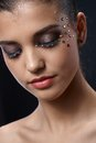 Closeup portrait of glittering makeup Royalty Free Stock Photo
