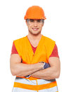 Closeup portrait happy handyman uniform isolated white background Stock Images