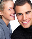 Closeup portrait of a happy young couple Stock Photography