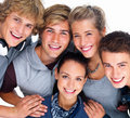 Closeup portrait of happy young teenagers smiling Stock Photography