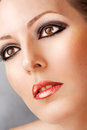 Closeup portrait lady smoky eye makeup false long lashes sexy red lips Stock Photos