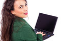 Closeup portrait of a pretty businesswoman with laptop, smiling