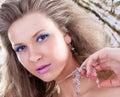 Closeup portrait of a pretty woman Stock Images