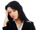 Closeup portrait of sad businesswoman having a headache stressed migraine isolated on white background Stock Photography