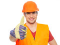 Closeup portrait smiling craftsman thumbs up sign orange protective uniform isolated white background Stock Photos