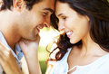 Closeup portrait of smiling young couple in love Royalty Free Stock Photos