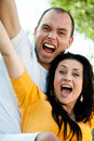 Closeup portrait of smiling young couple in love outdoors Royalty Free Stock Photo