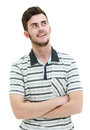 Closeup portrait of smiling young  man looking to the side. Isol Royalty Free Stock Photo