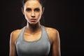 Closeup portrait of sporty woman beautiful brunette Stock Photography