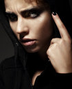 Closeup portrait of strict young woman close up Stock Photos