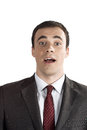 Closeup portrait of surprised young business man Royalty Free Stock Images