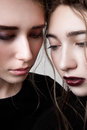 Closeup portrait of two fashion models with pigtails beauty Stock Photo