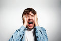Closeup portrait upset stressed young man Royalty Free Stock Photo