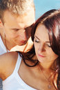 Closeup portrait of young couple Stock Images