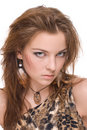 Closeup portrait of young emotional savage woman Royalty Free Stock Photography