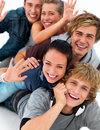Closeup portrait of young friends having fun Royalty Free Stock Photos
