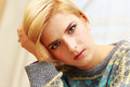 Closeup portrait of young worried woman Royalty Free Stock Photo