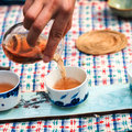 Closeup of pour tea ceremony Stock Image