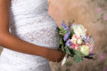Closeup pregnant belly wedding dress Stock Photography