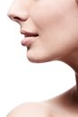Closeup profile of female's nose and lips Royalty Free Stock Photo