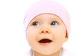 Closeup protrait of cute baby in hat on a white background Stock Photos