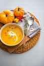 Closeup on pumpkin soup Royalty Free Stock Photo