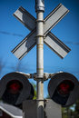 Closeup of rail road crossing Royalty Free Stock Photo