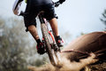 Closeup of rear wheel of bike extreme racer Royalty Free Stock Photo