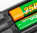 Closeup rechargeable batteries remote control Stock Image