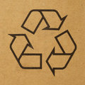 Closeup recycle logo printed cardboard box Stock Photos