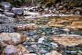 Closeup Rocks in Clear Water Stream Stock Photos