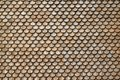 Closeup of a roof of a Swiss farm, covered with round wooden shingle tiles Royalty Free Stock Photo