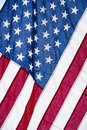 Closeup of ruffled American flag. Stars and Stripes Royalty Free Stock Photo