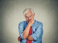 Closeup sad worried senior business man thinking looking down Royalty Free Stock Photo