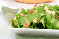 Closeup salad with croutons Royalty Free Stock Images