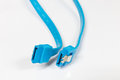Closeup sata data cable on a white background select focus Stock Image