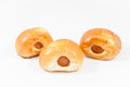 Closeup sausage in the dough on white background stock photo Royalty Free Stock Images