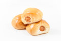 Closeup sausage roll on white background stock photo Royalty Free Stock Image