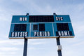 Closeup of a Scoreboard at Local Football Field Royalty Free Stock Photo