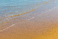 Closeup of sea foam on wet golden sand with copy space Royalty Free Stock Photo