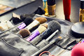 Closeup set of professional brushes for a makeup Royalty Free Stock Photo