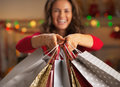 Closeup on shopping bags in hand of smiling woman Royalty Free Stock Photo