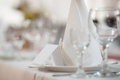 Closeup shot of a formal dinner service as at a banquet Royalty Free Stock Photo