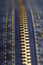 Closeup shot of jeans zipper Royalty Free Stock Images