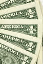 Closeup shot of one dollar bills Stock Photography