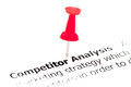 Closeup shot over words competitor analysis on paper pinned white with red pushpin copy space available business concept Stock Image